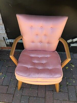 Vintage G Plan Armchair In Great Condition - Dusky Pink With Identification