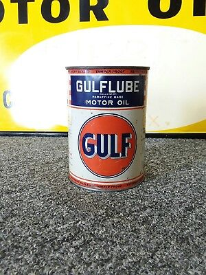 Gulf Oil Can FULL Gulfpride Supreme Gulflube Gas Station 1930's Motor Oil Metal!