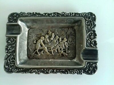 Vintage/antique silver ashtray, Tavern scene, not hallmarked possibly dutch??