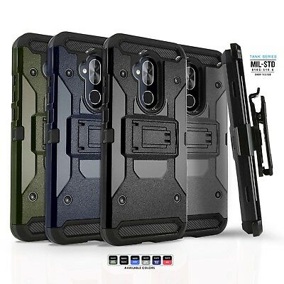 Phone Case for ALCATEL 7 (2018), [Tank Series] Shockproof Cover & Holster Clip