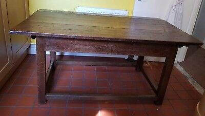 Large Antique Provincial French Hand Made Farmhouse Oak Dining Kitchen Table Vtg
