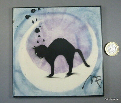 """Contemporary Hand Painted BLACK CAT 5 3/4"""" Pottery Tile - Signed"""