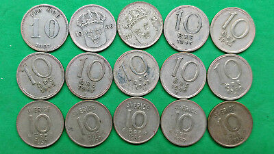 Lot of 15 Different Old Sweden Silver 10 Ore Coins 1907-1958 !!
