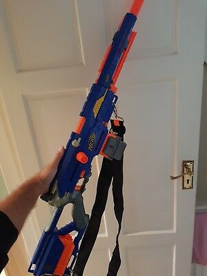 Nerf longstrike cs 6 Sniper Rifle + Gun Strap Reversible Clip 80 New Darts.