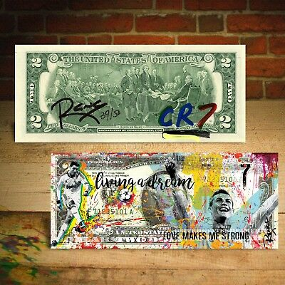 CRISTIANO RONALDO by Rency Banksy Art Giclee $2 Bill Signed Limited & S/N of 50