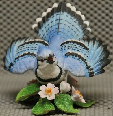 Lenox Garden Bird Scupture hand crafted & painted porcelain Blue Jay