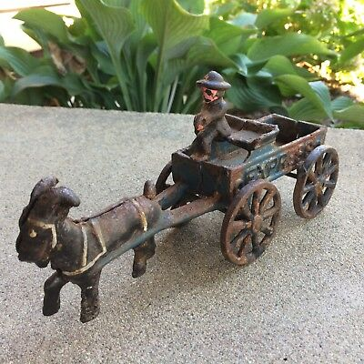 VTG/ATQ Childs Toy Cast Iron Express Cart/Buckboard Drawn by Goat