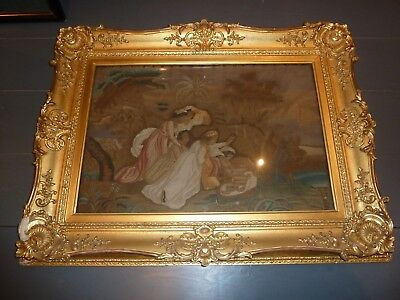 Lovely large regency embroidered picture