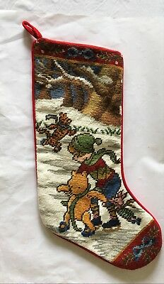 """Classic Pooh Winnie The Pooh Disney Needlepoint Christmas Lined Stocking 20"""" Exc"""