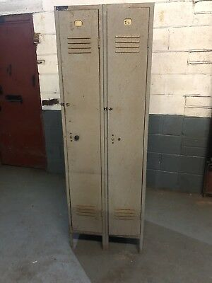 Vintage Industrial Double Locker - Ready To Be stripped and polished