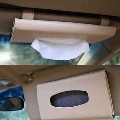 Car Sun Visor PU Leather Tissue Box Auto Clip Holder Paper Napkin Accessories LH