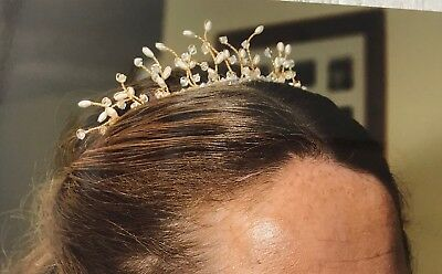 Antique Style Gold Wedding Tiara With Pearls And Diamanté