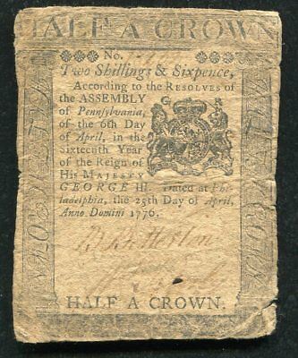 PA-204 APRIL 25, 1776 2s 6p TWO DOLLARS SIX PENCE PENNSYLVANIA COLONIAL CURRENCY