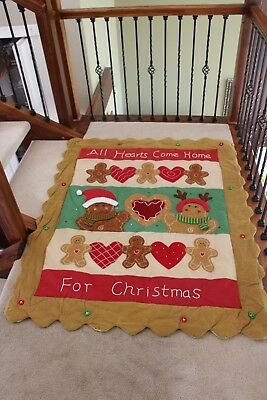 """Christmas Gingerbread Quilted Throw Wall Hanging 50"""" X 60"""""""
