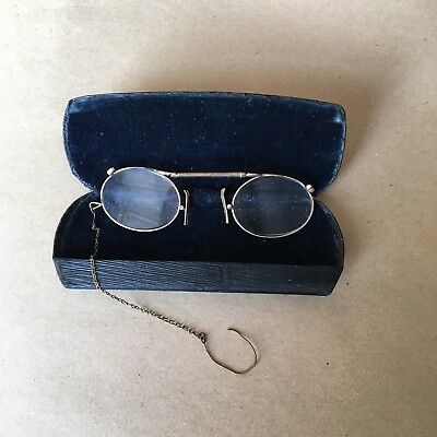 Vintage Brass Gold Glasses/ Spectacles / Eye Glass Case, Chain Bailey Birmingham
