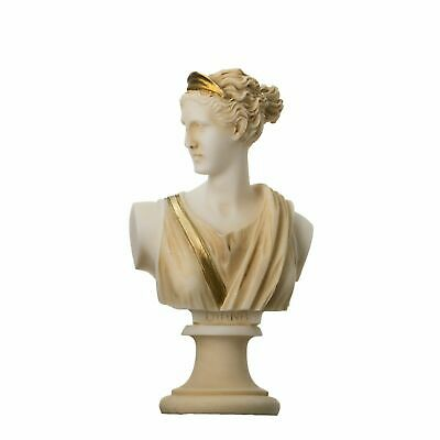 Artemis Diana Bust Greek Statue Nature Moon Goddess Gold Tone 5.9''