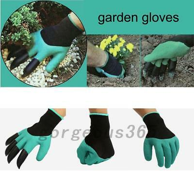 2Pairs Reusable Garden Gloves For Digging & Planting With 4 ABS Plastic Claws AU