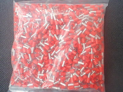 500Pc Wire Cord  End Ferrule Crimp Red 18 Awg # E1008-Red