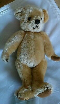 Merrythought cinnamon color teddy bear joints, makes sound EUC, vintage