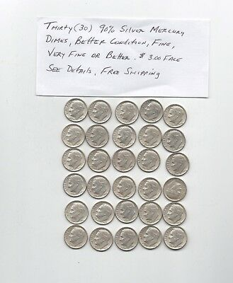 1- Lot Of 30 1964 Roosevelt 90% Silver Dimes,VG To VF See Details