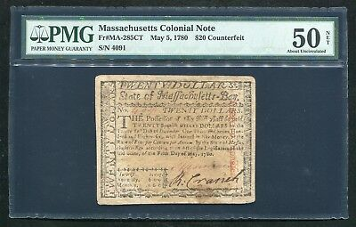 "Ma-285Ct May 5, 1780 $20 ""Counterfeit"" Massachusetts Colonial Note Pmg Au-50"
