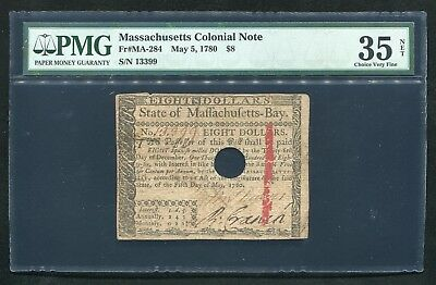 Ma-284 May 5, 1780 $8 Eight Dollars Massachusetts Colonial Note Pmg Vf-35