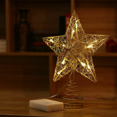 LED Tree Topper Star Christmas Decorations Top Xmas Star Light Up Glitter