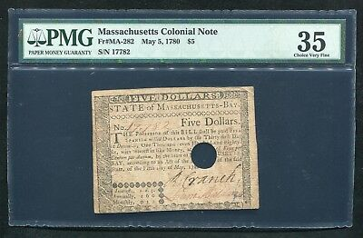 Ma-282 May 5, 1780 $5 Five Dollars Massachusetts Colonial Note Pmg Vf-35
