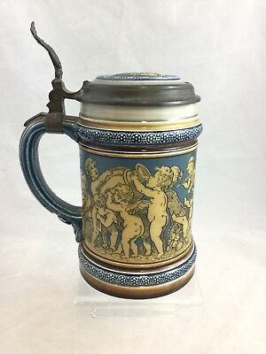 Mettlach 2025 Cherubs Playing With Abandon Etched German Stein Villeroy & Boch