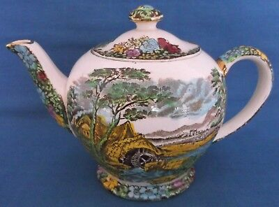 Vintage Sadler Old Water Mill Colourful Round Shape Teapot English Countryside