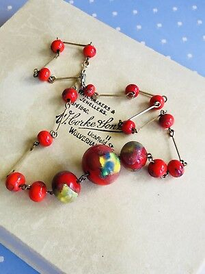 Beautiful Vintage Art Deco Red Glass Wired Necklace Length 40cm End To End