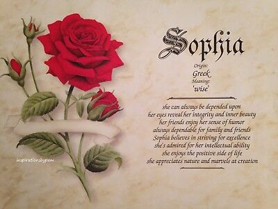 Personalized First Name Meaning Art Print-8x10-Sophia Name Only-Red Rose-New