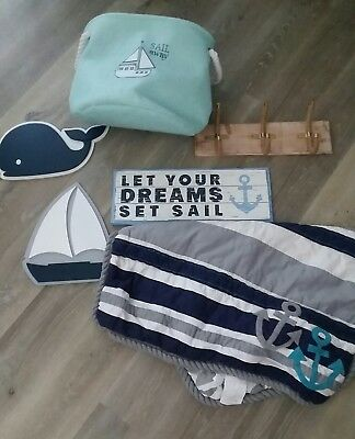 Nautical Baby Nursery Toddler Room Decor Set Sail Boat Whale, Blanket Wall Signs