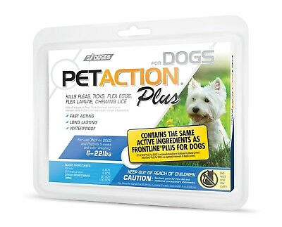 NEW! PetAction for Dogs 5-22 lbs Flea & Tick Treatment  3 Doses