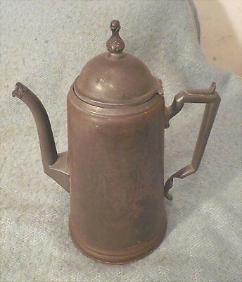Antique Tin and Copper Coffee Tea Pot Patented by M. Simons March 17, 1868