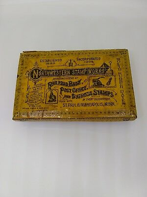 Antique Northwestern Stamp Works Tin with Stamps and Tray