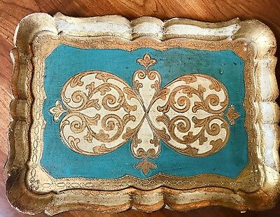 Vintage Italian Florentine Wood Wooden Tole Tray Gold Gilt Teal