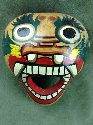 Rare Asian Gourd Mask Hand Painted Oni Demon Face Wall decor