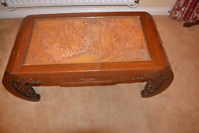 Chinese oriental wood glass top coffee occasional table carved vintage