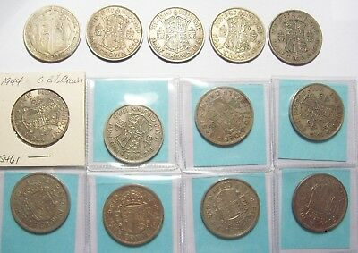 Lot Of 13 Great Britain Silver Half Crowns-(6) .500 Silver 1921-1946 (7) C/n