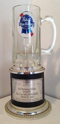 Vintage Pabst Blue Ribbon Beer Glass Mug Employee Presentation Award Milwaukee