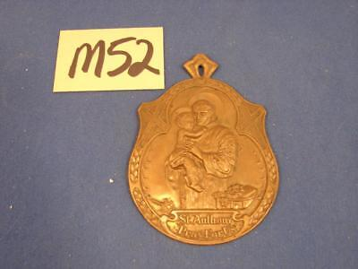 M52 Vintage/Antique Pressed Brass St. Anthony Pray For Us Wall Plaque