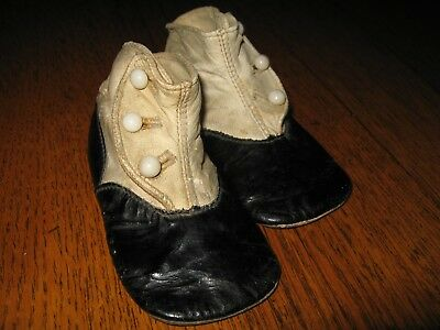 Antique Victorian Baby / Toddler Leather Button Up High Top Shoes
