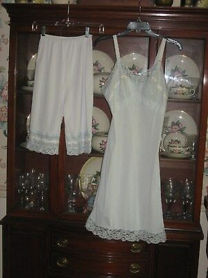 Vtg Light Blue Full Slip Seampruf 36 Matching Pettipants Sz 6 Embroidery Lace