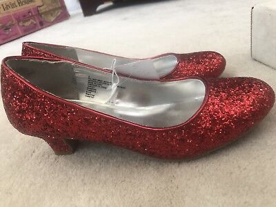New Wizard Of Oz Dorothy Ruby Red Shoes Heels Slippers Wmn Sz 5 Halloween