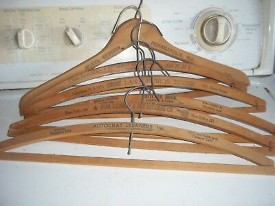 Vtg Wood Clothes Hangers...qty 6 all have advertising cleaners names