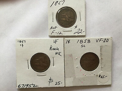 3 coins Flying Eagle Cent. two 1857 and one 1858