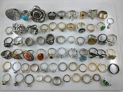 Huge Estate Lot of 64 Rings Vtg Cocktail Designer Rhinestone Silver Gold Tone NR