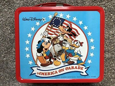 Walt Disney's America on Parade - Metal Lunchbox by Aladdin W Thermos Never Used