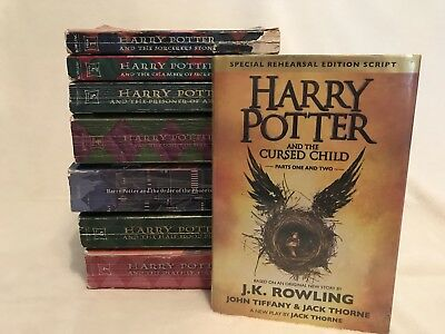 All Harry Potter Book Lot Set of 1-7 and The Cursed Child Complete ~Worn~  Q4